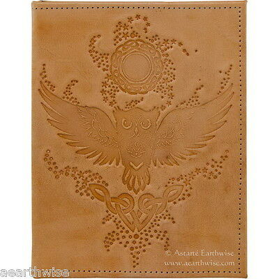 WISE OWL LEATHER JOURNAL Witch Wicca Pagan Book of Shadows Goth Spell