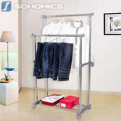 Songmics Double Stand Castors Adjustable Clothes Rail Rack with Wheels  LLR03G