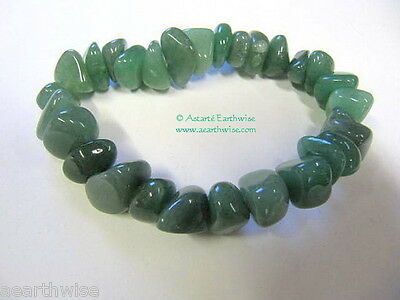 GREEN AVENTURINE TUMBLED STONES BRACELET  Yoga Wicca Witch Pagan OPPORTUNITY