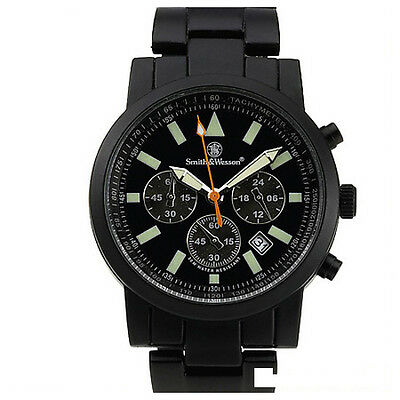 Smith and Wesson Uhr Tactical Pilot Comando Watch schwarz 30m wasserdicht Datum