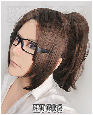 418 Attack on Titan Hanji Zoe Cosplay Wig Clips Ponytail and Glasses