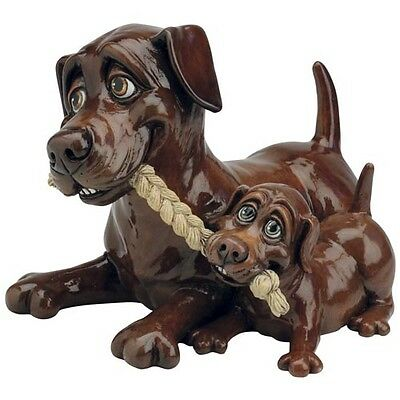 Pets With Personality 5512 Chocolate Labrador And Pup Collectable Ornament