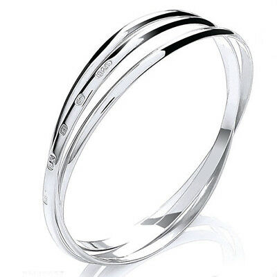 "Sterling Silver Russian Slave Bangle Heavy 47g Extra Large Womens 8.5"" UK HM 4mm"