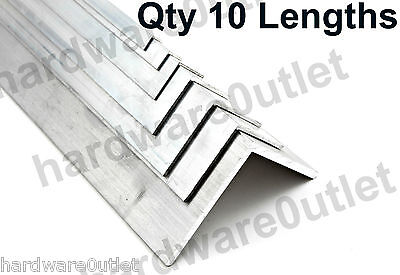 10 Lengths Aluminium Extruded Angle 1 or 2 Mtr Long - Various Sizes Equal Angle