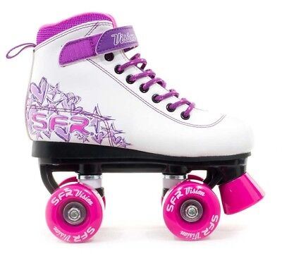 SFR Kids Vision II Girls Quad Roller Skates- White Pink Purple Jr 11-6/EU29-39.5