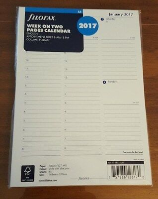 2017 FILOFAX A5 Week on Two Pages Calendar -  With Appointments - 17-68521