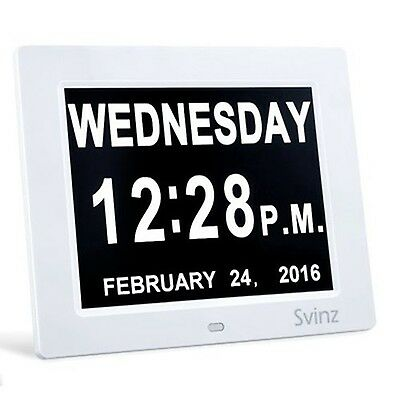 """8"""" Digital Calendar Alarm Day Clock by Svinz with Extra Large Non-Abbreviated..."""
