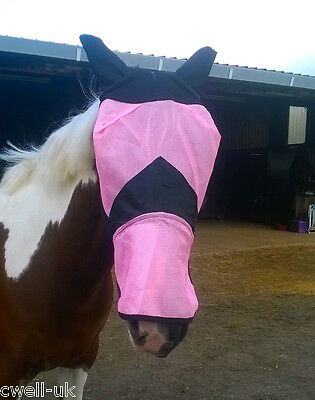 New Fine Mesh Horse Cob Pony Full Face Fly Mask Hood With Ears long Nose Flap