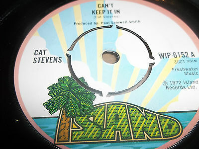 "Cat Stevens "" Can't Keep It In "" 7"" Single Island Excellent 1972"