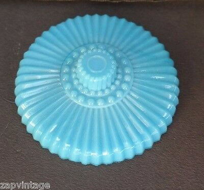 Vintage Blue Milk Glass LID Top  (Jar, Container, Jewelry) Dish (Parts) Lid Only