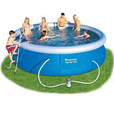 """BESTWAY INFLATABLE FAST SET FAMILY ROUND PADDLING SWIMMING POOL 15x42"""" A-BW57294"""