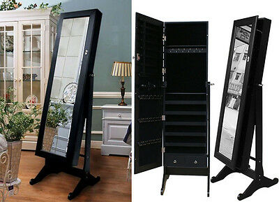 Black Mirrored Jewelry Cabinet Armoire Stand, Mirror, Necklaces, Bracelets,Rings