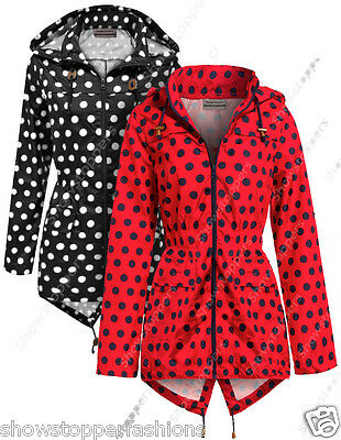 NEW RAIN MAC Ladies PARKA Shower Womens RAINCOAT Festival Size 8 12 14 16 18 22