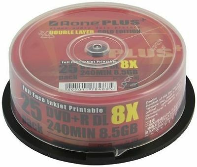 25 Pack Aone DVD+R DL 8x Plus Inkjet Printable 8.5GB DUAL LAYER Gold Edition