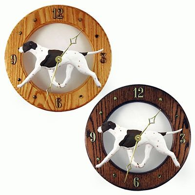 English Pointer Wood Wall Clock Plaque Liver/White