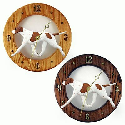 English Pointer Wood Wall Clock Plaque Orange/White