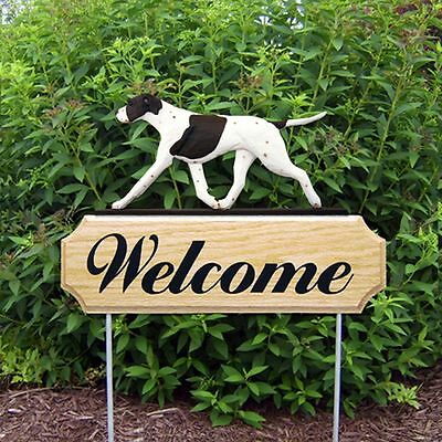 English Pointer Wood Welcome Outdoor Sign Liver/White