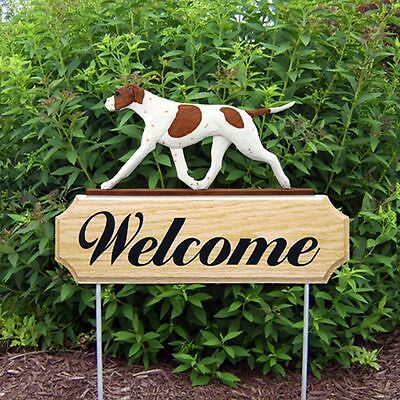 English Pointer Oak Wood Welcome Outdoor Yard Sign Orange/White