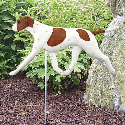 English Pointer Outdoor Garden Sign Hand Painted Figure Orange/White
