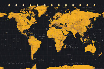 """MAP OF THE WORLD -  POSTER / PRINT (GOLD INK WORLD MAP) (SIZE: 36"""" x 24"""")"""