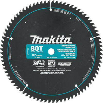 Makita A-94770 10-Inch 80 Tooth Ultra Coated Quiet Cutting Mitersaw Blade