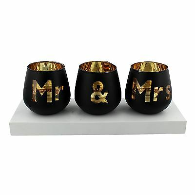 Always & Forever Mr & Mrs 3 Glass Tea Light Candle Holders Set on White Plinthe