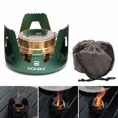Mini Spirit Burner Alcohol Stove Outdoor Camping Hiking Furnace with Stand Bag