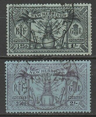 New Hebrides 1925 Weapons And Idols Dual Currency  1/- And 2/-  Used