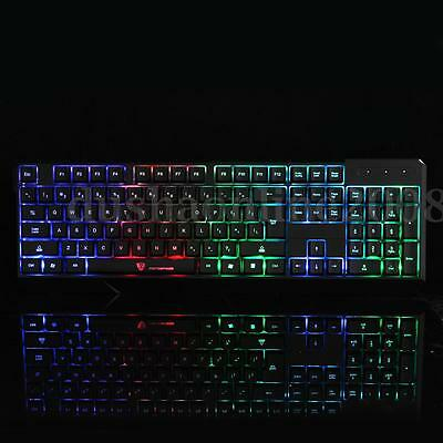 Etanche Clavier Filaire USB LED Lumineux Gamer Jeux Wired Keyboard Pr Desktop PC