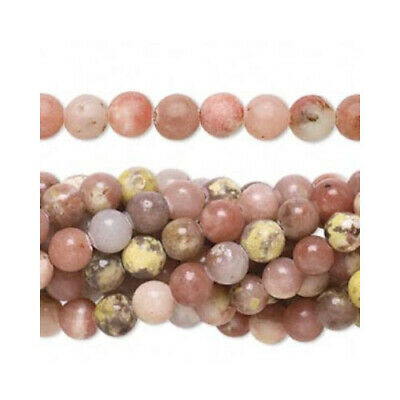Lepidolite Round Beads 6mm Pink/Yellow 62+ Pcs Gemstones Jewellery Making Crafts