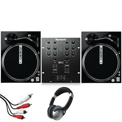 Reloop RP2000M DJ Direct Drive Turntable Deck (Pair) and Numark M101 Mixer Kit