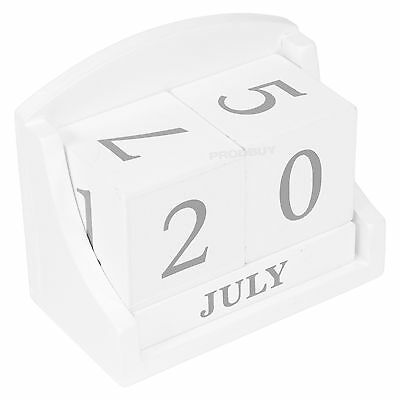 Small Perpetual White Wooden Block Calendar Shabby Chic Date Home Desk Office