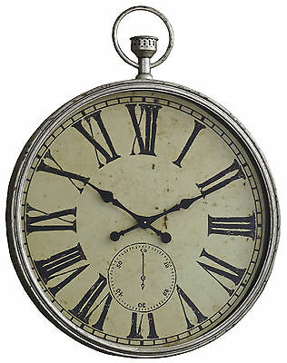Elegant Champagne Metallic Wall Clock, Iron, 37 In. H, Vintage Pocket Watch Look