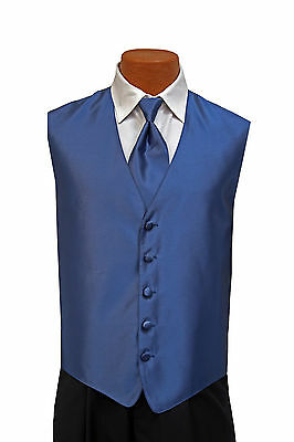 Small New Mens Solid Fusion Blue Fullback Wedding Prom Formal Tuxedo Vest