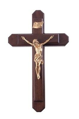Pastoral Sick Call Set Oak Wood with Gold Toned Christ Corpus Crucifix, 15 Inch