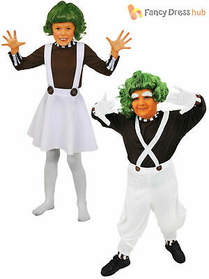 Childrens Oompa Loompa Costume Boys Girls Charlie Chocolate Factory Fancy Dress