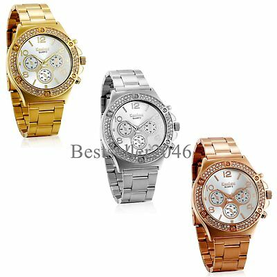 New Luxury Women Ladies Girls Men Stainless Steel Band Analog Quartz Wrist Watch