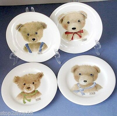 "Gien Bears ""Ours"" Canape Appetizer Plate (Set of 4) Assorted Boxed New!"