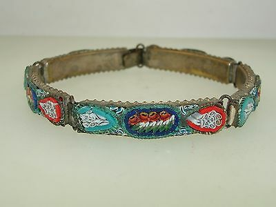 """Vintage Italy Brass W/silver Wash Bright Color Micro Mosaic Bracelet! 7 1/2"""""""