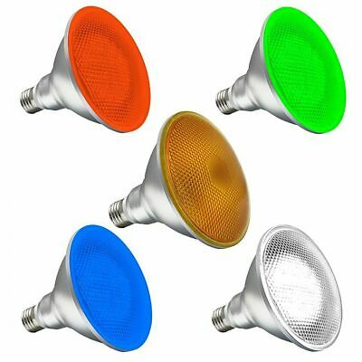 PAR38 LED 15w Outdoor Garden Spot Light Bulb E27 ES IP65 Red Green Blue White