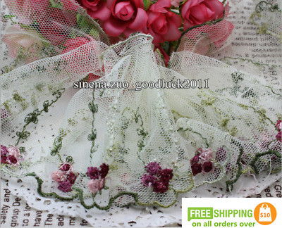 1 yard,Tulle Lace Trim Ribbon Coloured floral Embroidered Crafts Sewing DIY F176