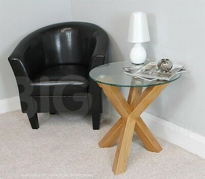 Round Glass Side Table With Solid Oak Legs | Contemporary Design