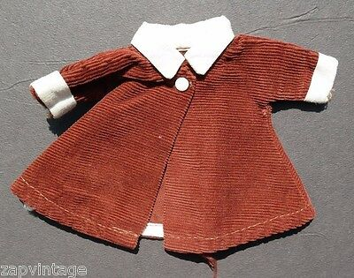 Vintage 1950's Brown Corduroy Dress Up Doll Play Clothes / Clothing Jacket Coat