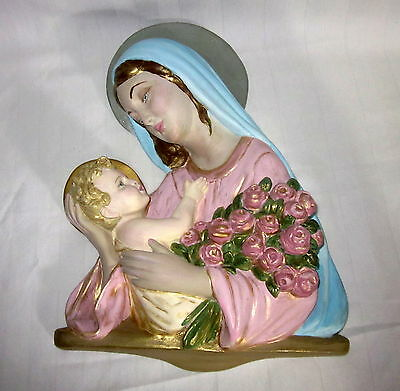 Vintage Mary Chalkware Madonna And Child With Roses Wall Plaque Hanging
