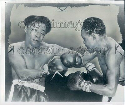 1951 Boxing Champs Johnny Bratton & Kid Gavilan in The Ring Press Photo