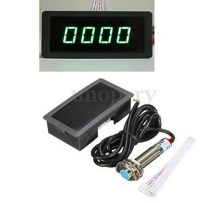 Green 4 Digital LED Tachometer RPM Speed Meter+ Hall Proximity Switch Sensor 12v