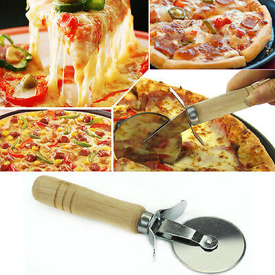 Kitchen  Pizza Cutter Wheel Slicer Wood Handle Stainless Steel Pastry Nonstic