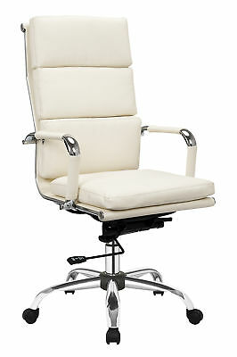 Premium Quality Cream Leather Office Manager Gas Lift Chair Chrome Base White HP