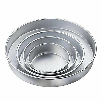 "Wilton 3"" Deep Performance Round Tin Set of 4 Cake Wedding Party Decorating Tray"