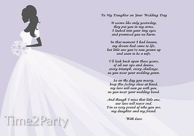 A4 Poem To My Daughter On Her Wedding Day Mother Father Gift